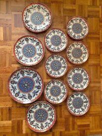 Oriental china plates, ornate design, set of 11, made in India, detail mandalas