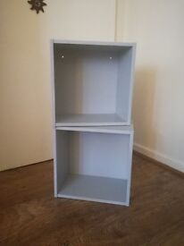 Two Pale Grey Sturdy Wall Mounted Box Frame Shelves