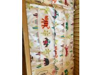 Colourful cot bumper and blanket