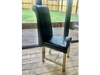 Brown faux leather oak dining chairs