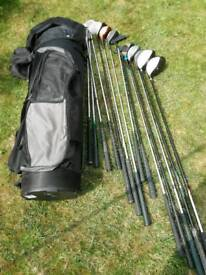 LADIES RIGHT HAND GOLF CLUBS AND TROLLEY BAG