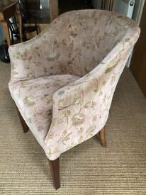 Antique / Vintage Upholstered Tub Style Chair Arts and Crafts With Oak Legs Lovely Condition