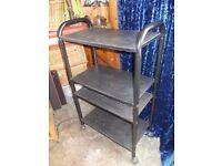 Hi fi stand shelf on casters retro ash black unit