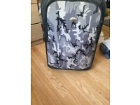 Grey Army print suitcase