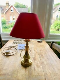 Brass bedside lamp with shade