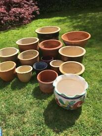 Selection of clay and terracotta plant pots/planters