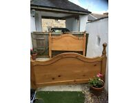 Queen size solid pine sled bed