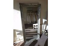 LARGE Antique Silver Shabby Chic Ornate Decorative Wall Mirror