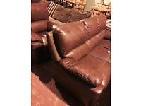 brown quality leather suite, sofa and armchair