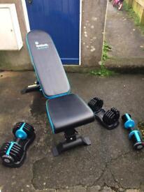 Men's weight bench & adjustable weights