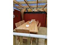 Garden patio table and 8 chairs