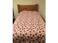 SINGLE BED WITH EXCELLENT MATRESS. HEADBOARD & DUVET & COVER