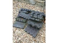 Selection of old reclaimed clay garden edging.