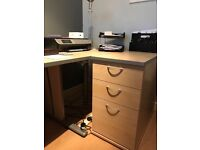 Complete office furniture suite in Beech wood effect with silver grey trim
