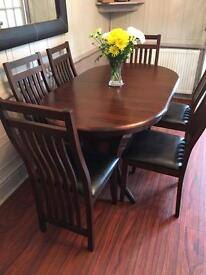 Solid wood extending dining table with 6 chairs RRP £469