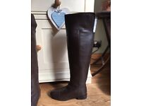 Brown Leather boots (knee length)