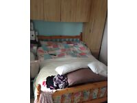 Pine double bed and mattress (10months old)