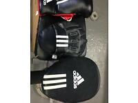 Pads and sparring gloves