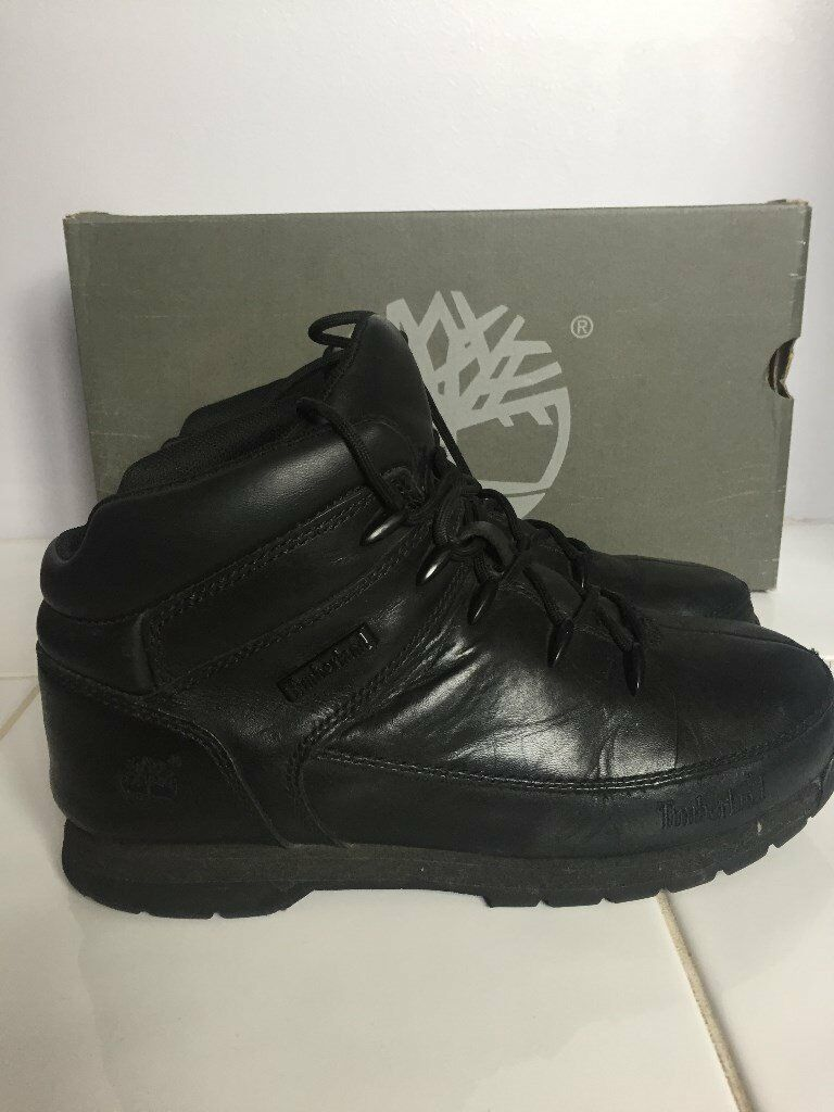 Timberland Boys Euro Sprint Boots in Black Smooth