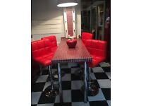 1950s Retro Diner Style Kitchen Breakfast Bar Stools - Red