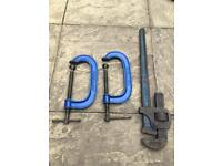 G clamps and pipe wrench