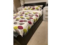 King size bed with under bed storage drawers (no mattress)
