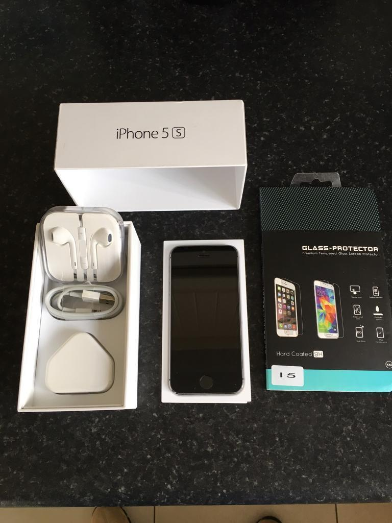 Apple iPhone 5s 16gb in space grey on O2 in mint conditionin Newtownabbey, County AntrimGumtree - Apple iPhone 5s in space grey 16gb on O2 in mint condition this comes with original box sim pin genuine apple unused earphones also genuine apple charging plug and new charging lead I have also added a new tempered glass screen protector thanks for...
