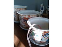 set of 3 large planters and saucers Beautiful Japanese pattern