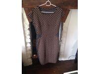 Women's Brown Polka Dot Office Dress