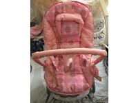 Pink baby bouncer rocker chair