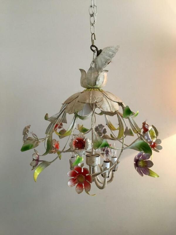 VTG SHABBY RUSTY CHIC ITALIAN METAL TOLE  CAGE UMBRELLA FLOWERS CHANDELIER LAMP