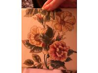 Vintage 1930s fireplace tiles - pink red cream floral