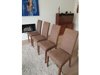 Four (4x) upholstered John Lewis dining chairs, brown/neutral, great condition