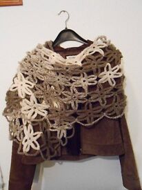 Elegant Floral crochet shawl scarf Christmas wrap cowl lace soft wool acrylic warm gift for her