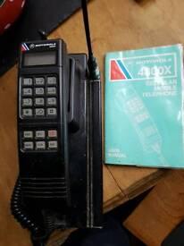 Old motorola brick obile phone and case