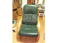 Leather reclining chair, Danish make Unico, great condition