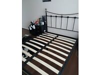 Complete Double bed Mattress with Black metal bed frame.
