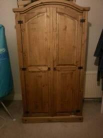 Antique pine double wardrobe