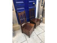 Pair of Chairs - Solid wood, hinged seat for storage below . Great for hallways...