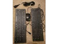 2 x computer keyboard HP computer mouse HP power cable