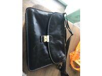 Black Italian leather laptop bag / satchel