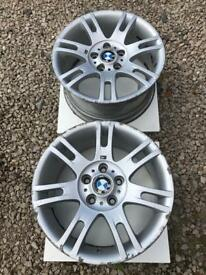 "Pair of BMW style 97 design 17"" alloy wheel rear 8.5J staggered setup E46 E90 E87 BBS"