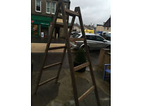 Terrific Heavy Solid Tall Vintage Wooden Double Side Step Ladder – Storage Prop Display