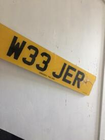 Private registration W33 JER someone called jer Jeremy ger Gerry Gerald Jerry
