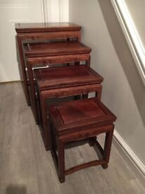 Beautiful Dark Hardwood Set of 4 Nest of Tables - Vintage Shabby Chic Retro Ornate Solid