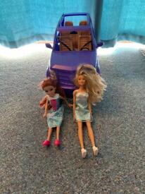 Barbie SUV Purple Car With 2 Dolls