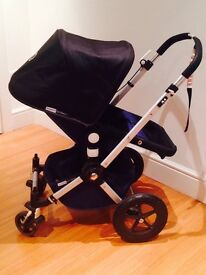 Black & Navy Bugaboo Cameleon Buggy, Carry Cot and Car Seat
