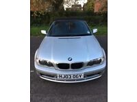 "03 BMW 318 CI CABRIOLET SILVER 18"" ALLOYS HOOD WORKS DRIVES A1 MOT 07/2018 GOOD BODY PX SWAPS"