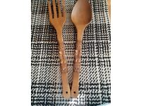 Ornamental fork and spoon wooden