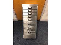 Vintage brushed steel file cabinet